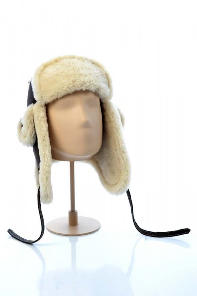 Mens fur hat fashioned from natural lamb fur