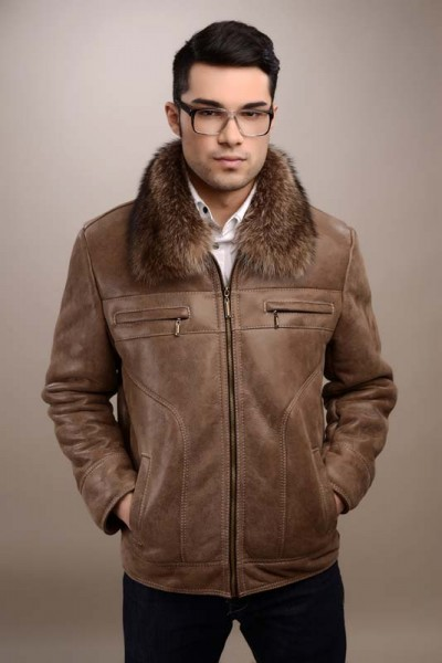 Taupe mens fur coat manufactured from natural lamb fur and natural raccoon fur