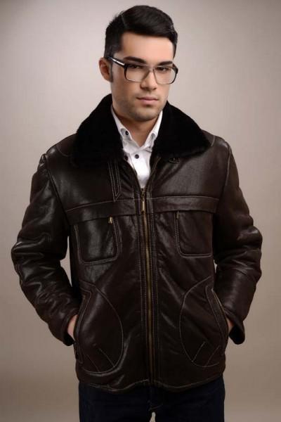 Fur coat for men, lined with natural merino lamb fur