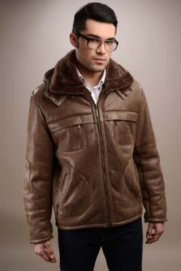 Hooded mens fur coat