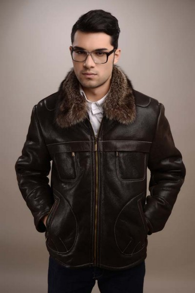 Mens fur coat, with collar made from natural raccoon fur