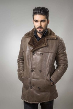 A fur coat for men, that has a simple and clean design and offers comfort and elegance