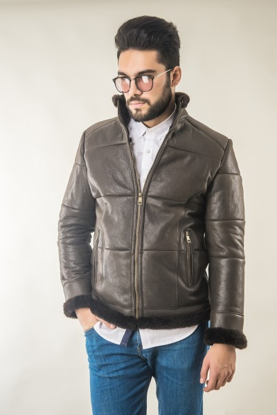 Mens fur coat, manufactured from natural lambskin and lambswool