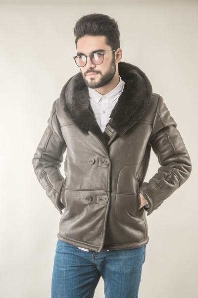 Brown mens fur coat, with wide lapel, suited for stylish outfits