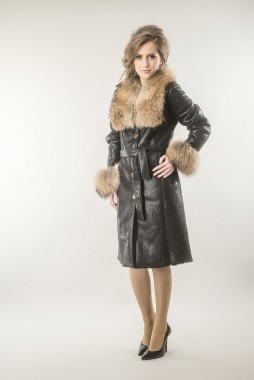 Brown womens fur coat! Made from fox and lamb fur