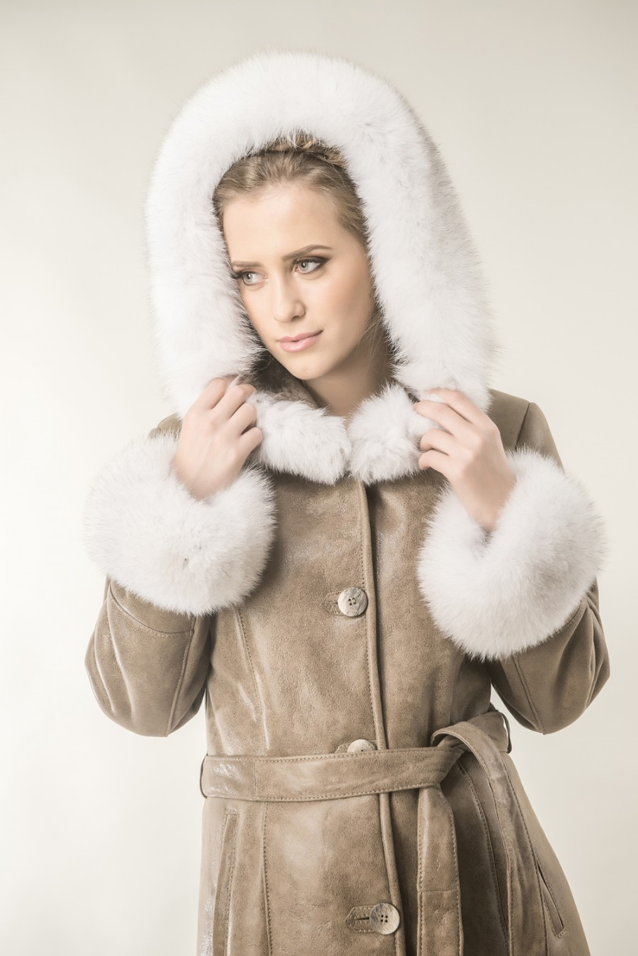 77d40cedc Taupe womens fur coat made from nappa leather and natural polar fox fur