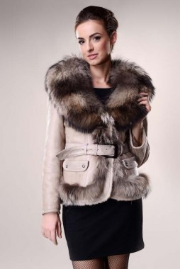 Beige womens fur coat, made from polar fox fur and lambskin