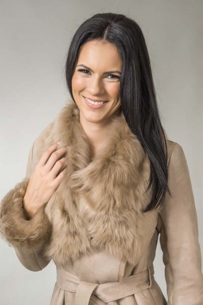 Beige fur coat for women, made form processed lambskin and natural lamb fur