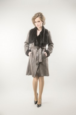 Womens fur coat made with nappa leather and natural merino lamb fur