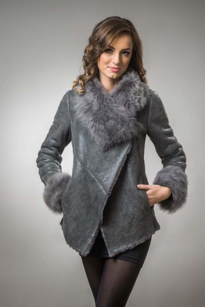 Grey womens fur coat manufactured from processed lambskin and natural lambswool