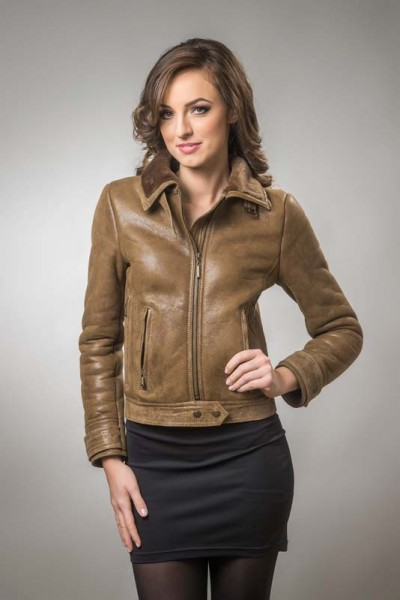 Light brown womens fur coat, made from nappa leather and natural merino lambswool