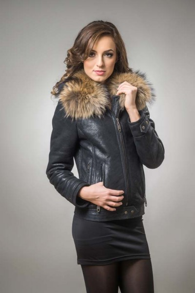 Black womens fur coat made from nappa leather, merino lamb fur and raccoon fur
