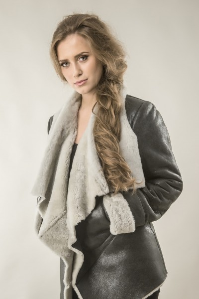 Grey womens fur coat with natural wool and nappa sheepskin