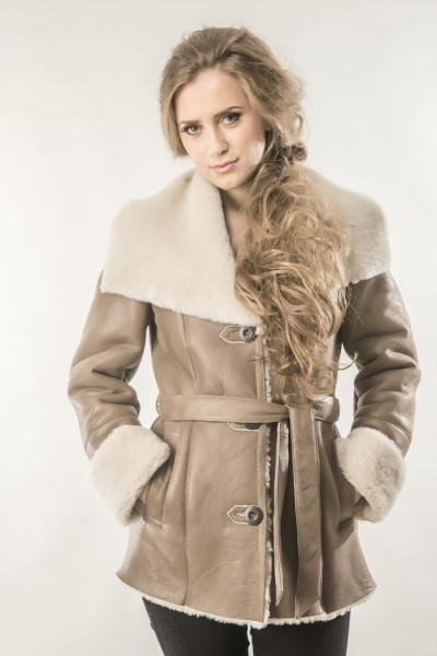 Lambswool lined womens fur coat, with exterior made from nappa lamb leather