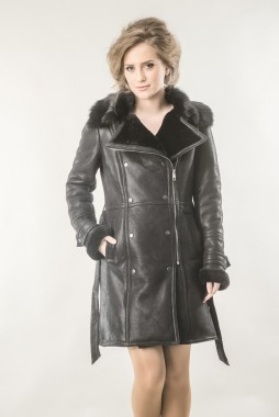 Black fur coat for women, made from nappa leather and natural lambswool