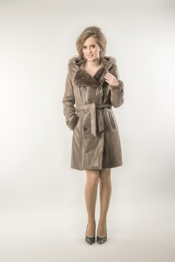 Taupe womens fur coat made from nappa leather and merino lambswool