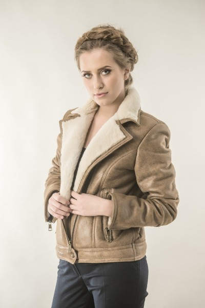Taupe womens fur coat