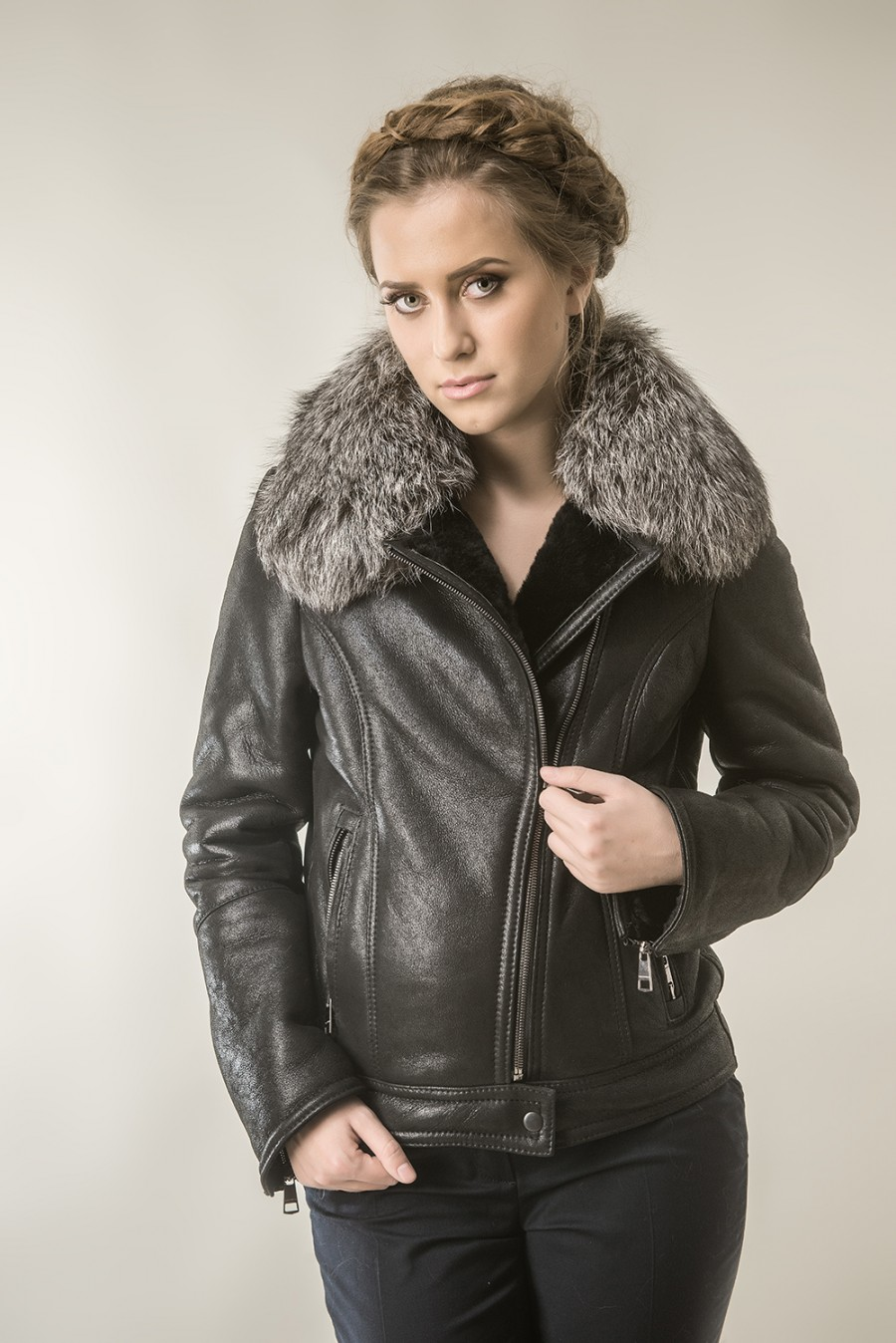 531f6a53f0f Black fur coat for women with natural lambswool and polar fox fur
