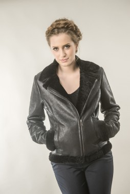 Black fur jacket for woman, made from natural sheepskin and wool