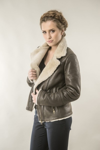 Brown womens fur coat made from nappa leather and lambswool