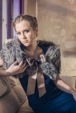 Womens fur collar made from natural polar fox fur