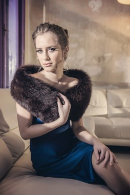 Fur coat for women made from natural polar fox fur