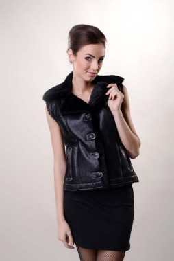 Black womens fur gilet made from nappa leather and lambswool