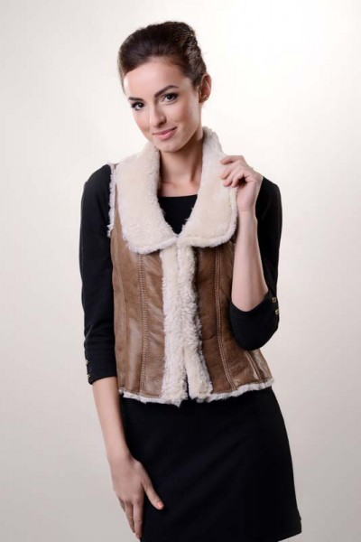 Light brown fur vest made from nappa leather and merino lamb fur
