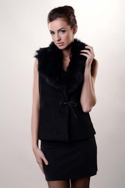Black womens fur gilet manufactured from nappa leather and merino lamb fur