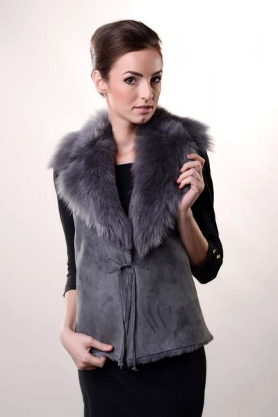 Grey fur gilet made from nappa leather and natural merino fur