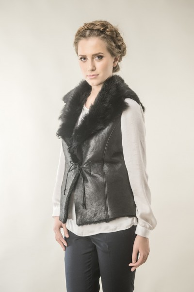 Black womens fur gilet made from nappa leather and merino lambswool