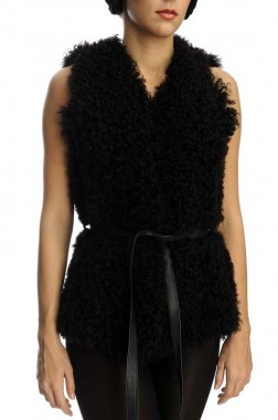 Black womens fur gilet made from untrimmed merino lamb fur and suede leather