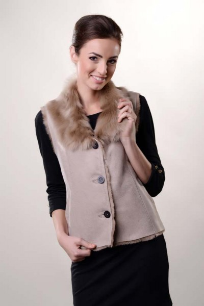 Beige womens fur gilet, made from nappa lambskin and lined with natural lambswool