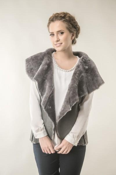 Grey womens fur gilet made from nappa lambskin and natural lamb fur